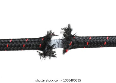 Rupture of climbing rope on white background