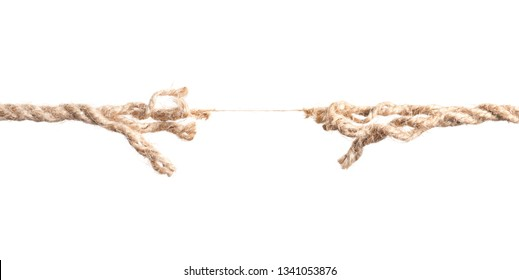 Rupture of cotton rope on white background