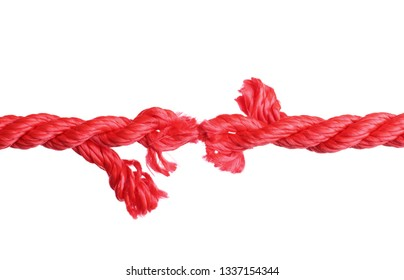 Rupture of red climbing rope on white background