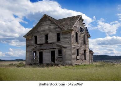 Rural Abandoned Homestead in a rural field in western America