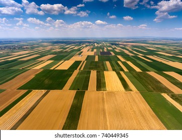Rural aerial landscape with multicolor agriculture fields in Serbia