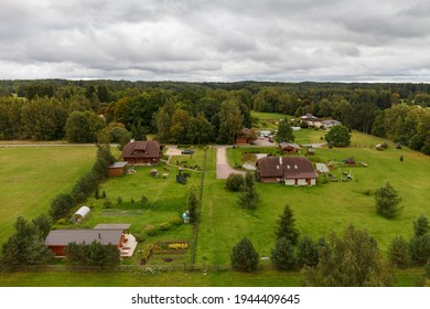 Rural aerial view over the village houses. Estonia.