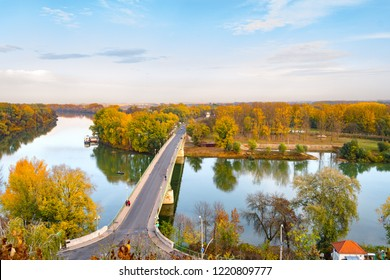 Rural autumn plain landscape with a bridge at Tokaj, Hungary where rivers Tisza and Bodrog meet
