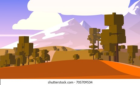 Rural Cartoon Landscape.