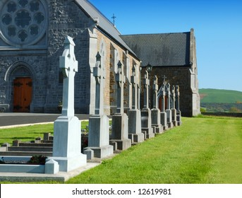 rural catholic church and graveyard