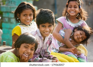 Rural children friends morning in sunlight Salunkwadi, Beed, Maharashtra, India
