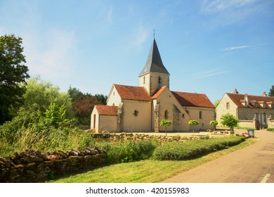 Rural church in small town in Burgundy, France