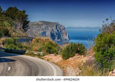 Rural coastal road on Majorca, Spain from Andratx to Soller.