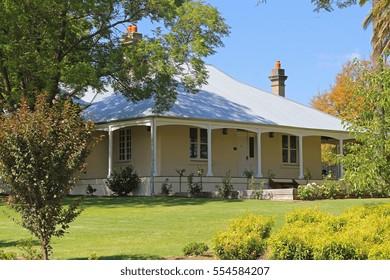 A rural colonial farmhouse.