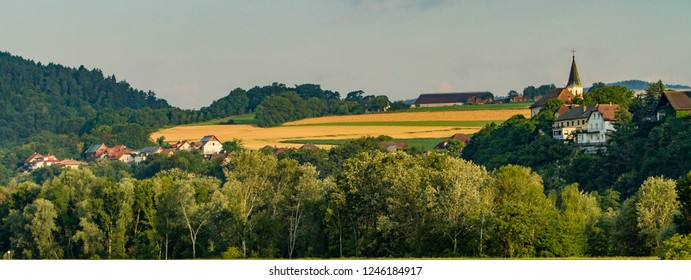 A rural community and a wheat field near Ybbs an der Donau.  It is a city in Austria, established in 1317