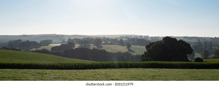 rural countryside landscape of central brittany near Parc naturel régional d'Armorique on early misty summer morning in france