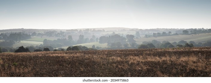 rural countryside landscape of central brittany near Parc naturel   d'Armorique on early misty summer morning in france