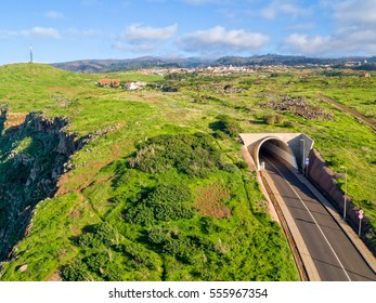 Rural Countryside with Tunnel Road Madeira Island, Aerial View