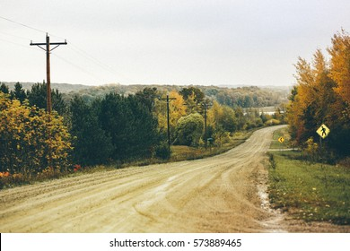 Rural Dirt Road Landscape with Fall Colors