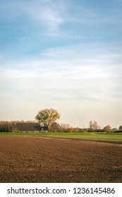 Rural Dutch landscape with a plowed field in the foreground and a farm in the background. The photo was taken in De Biesbosch near the village of Werkendam in the province of Noord-Brabant.