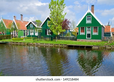 rural dutch scenery of small old houses in Zaanse Schans,, Netherlands