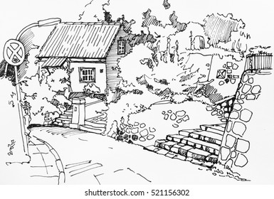 Rural fisherman house with garden, stone terrace and staircase in Hamburg suburbans, Germany, original ink drawing sketch illustration