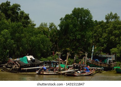 rural fishery village near the coastal mangrove forest