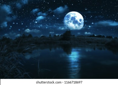 Rural forest near a river night landscape with full moon, edited photo. Elements of this image furnished by NASA