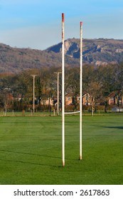 Rural goal posts - in front of Cheddar gorge in Somerset