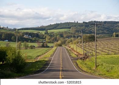 Rural highway in the Willamette Valley of Oregon