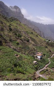 Rural houses and farming terraces in the Paul Valley on the island of Santo Antao in Cape Verde