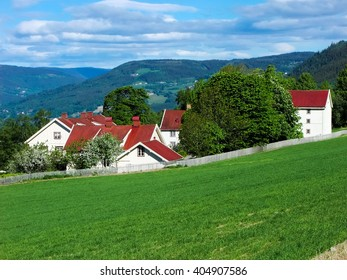 Rural housing surrounded by greenary at Lillehammer outskirt, Norway.
