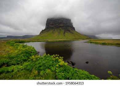 Rural Iceland Landscape with Clouds