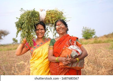 Rural Indian women in the field, Maharashtra, India.