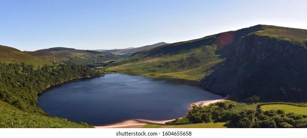 rural irish landscape overlooking wicklow mountains