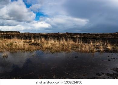 Rural Irish peat bog landscape
