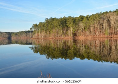 A rural lake in North Carolina on a still day.