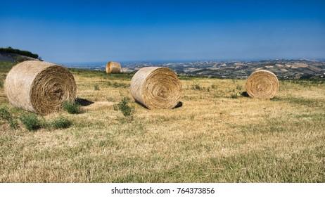 Rural landscape along the road from Civitella del Tronto to Teramo (Abruzzi, Italy) at summer.
