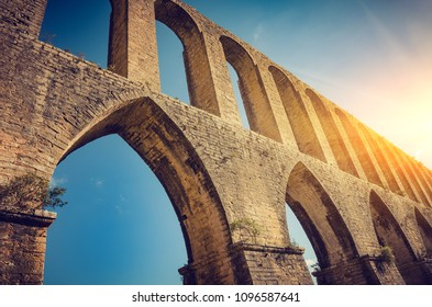 Rural landscape with ancient landmark aqueduct of Tomar region in Portugal