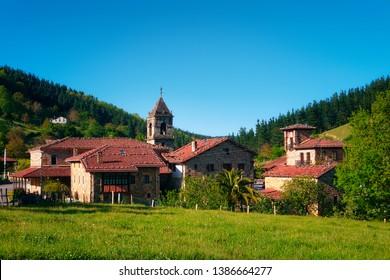 rural landscape in Axpe village in Basque Country
