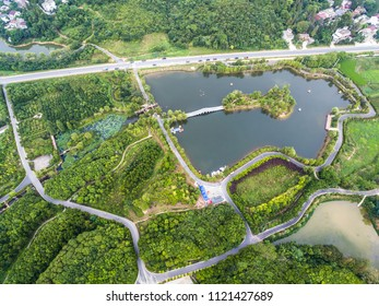 Rural landscape background at Aerial photography bird eye view