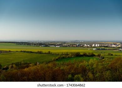 rural landscape with blue sky, Chrudim, Czech Republic, rozhledna Bara