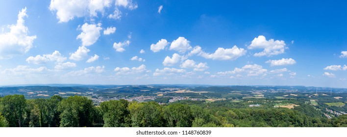 rural landscape with blue sky in the Saarland near Tholey, Germany
