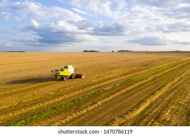 Rural landscape with combine harvester in field. Harvesting. Agriculture. Agricultural industry. Aerial view.