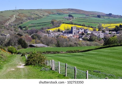 A Rural Landscape in Dorset, England with Corfe Village in the Valley