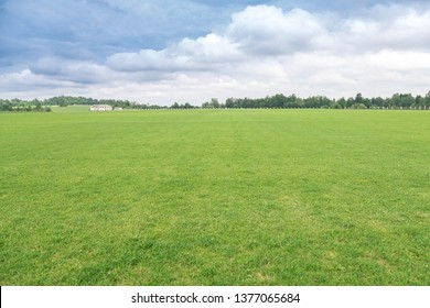 Rural landscape. The flat well-groomed field of a short-haired grass, a country house in the distance at the hill. The beautiful cloudy sky in sunny day