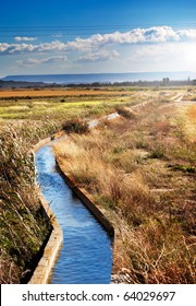rural landscape with irrigation channel and fields