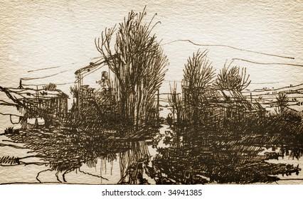 Rural landscape. Made by ink on paper.