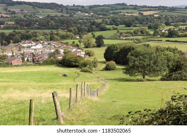 A rural Landscape in Monmouthshire South Wales with village in the distance