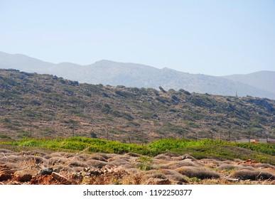 rural landscape on a hill near sisi on the greek island crete