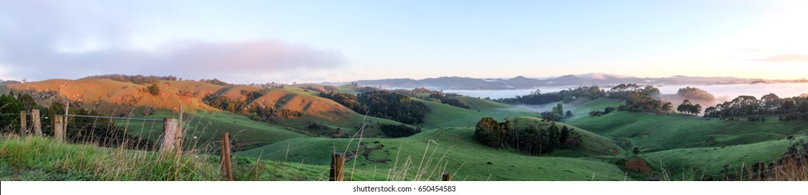 Rural landscape panorama Warkworth, north of Auckland, North Island, New Zealand NZ