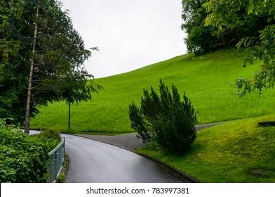 A rural landscape shot at Village Kehrsiten, Switzerland, on the bank of Lake Lucerne
