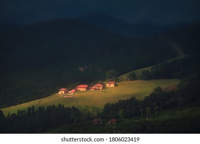 rural landscape of small village in countryside in Orozko