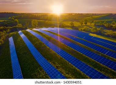 Rural landscape with Solar Panel installation,