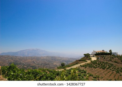 Rural landscape from the south of Spain, in Andalusia. From the tropical weather of Malaga, we can see the rural village in the mountains, full of typical white houses of Andalusia.